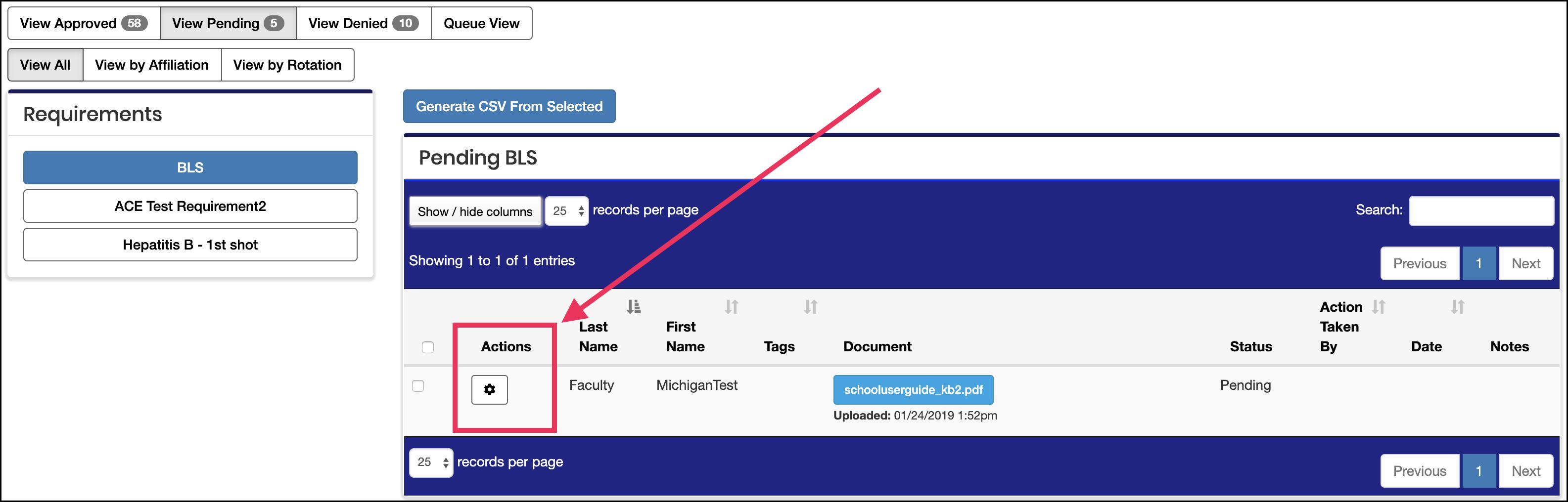 """image Pending Document Table highlighting action """"gear"""" icon"""