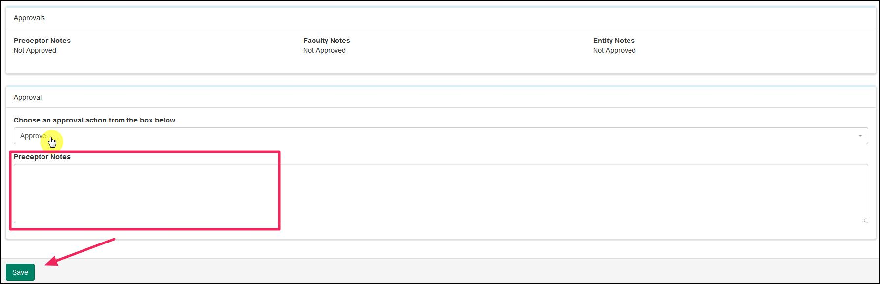 image bottom of Case Log highlighting Approval choices, notes field, and Save button