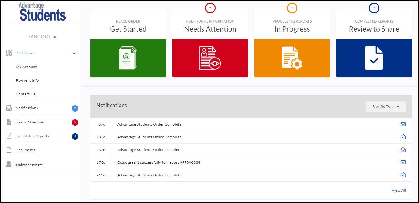 image screenshot Advantage Students dashboard