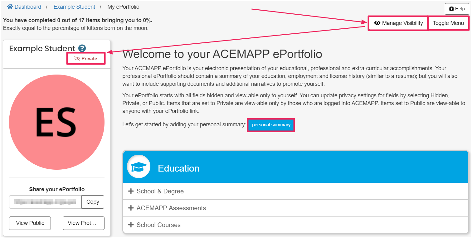 """Image shows arrows pointing to the """"Manage Visibility"""" and privacy settings buttons. Image also shows the higlighted """"Personal Summary"""" and """"Toggle Menu"""" buttons."""