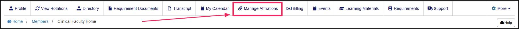 image member nav bar pointing to Manage Affiliations icon