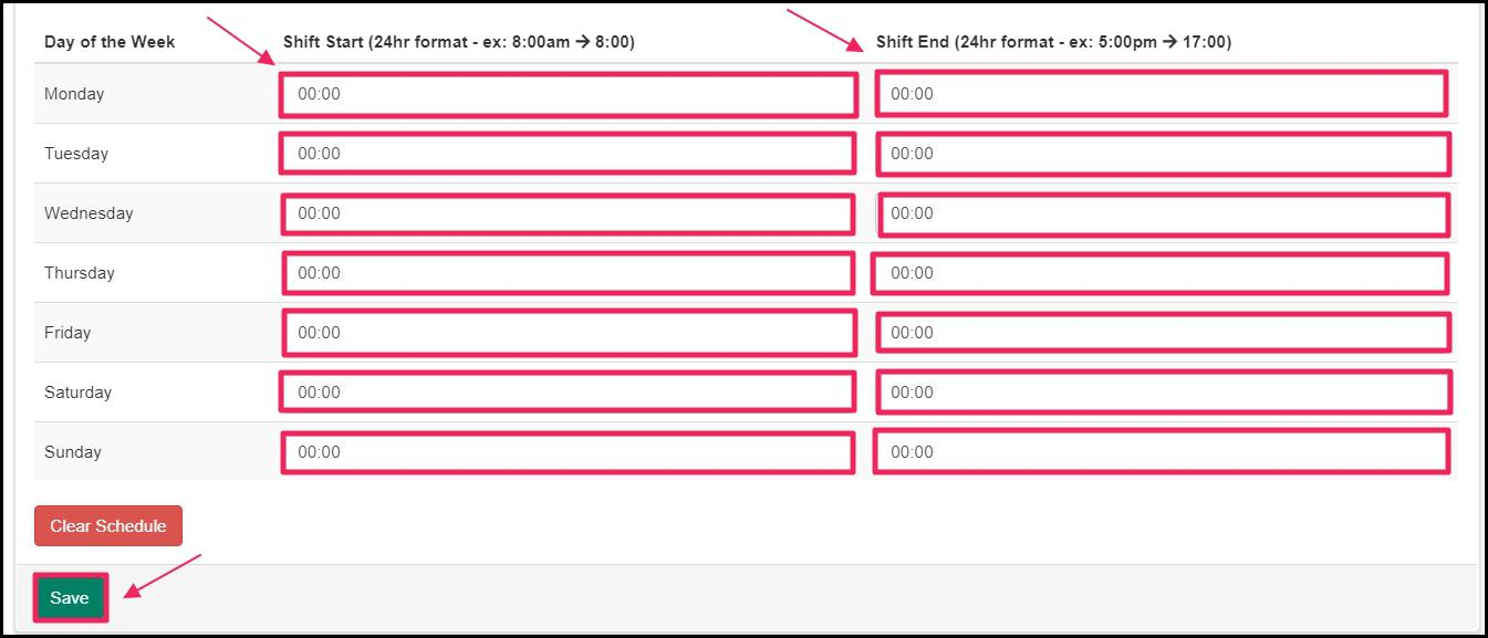 Image pointing to Shift Start and Shift End columns as well as Save button on Preceptor Schedule page