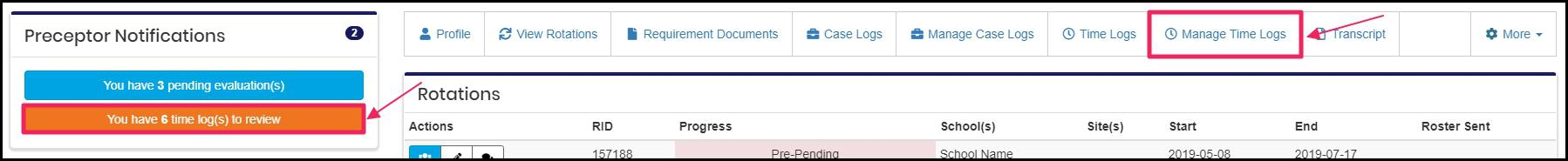 Image pointing to You have 6-time log(s) to review notification in Preceptor Notifications section and Manage Time logs tab on features bar on preceptor homepage