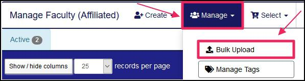 image pointing to Manage dropdown and Bulk Upload tab on Manage faculty affiliated page