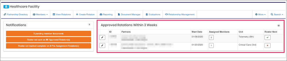 image healthcare dashboard highlighting Approved rotations within 3 weeks table