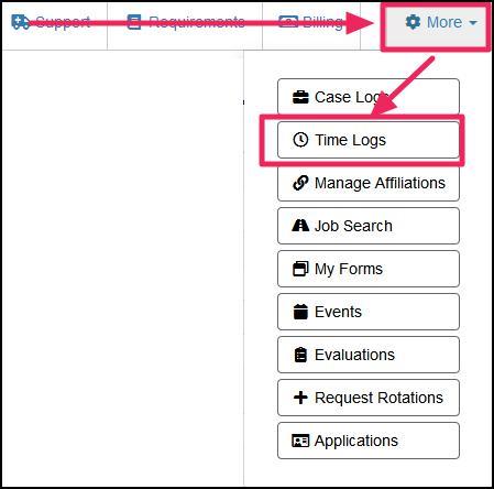 image user navbar highlighting More button and Time Log button