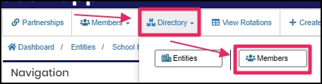 image shows directory tab and members from drop down