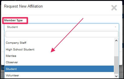 image shows to select member type