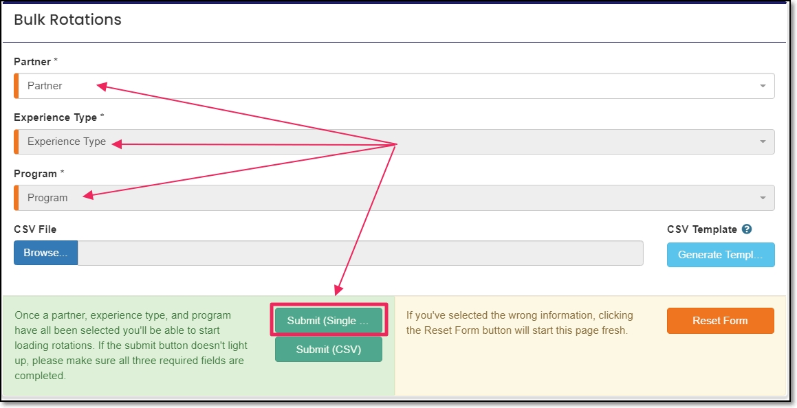 Bulk Rotations screen pointing to required fields and submit button