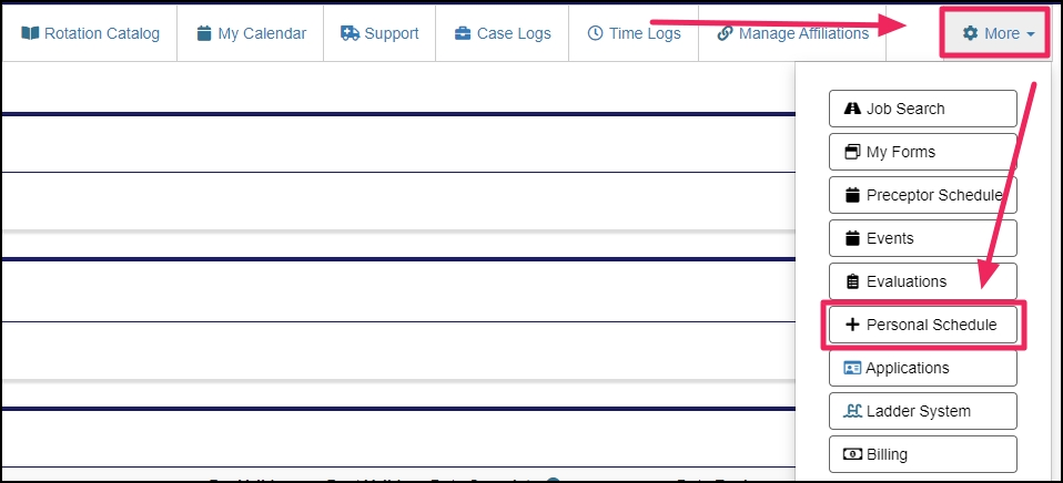 image shows where to find the Preceptor Schedule under the More tab