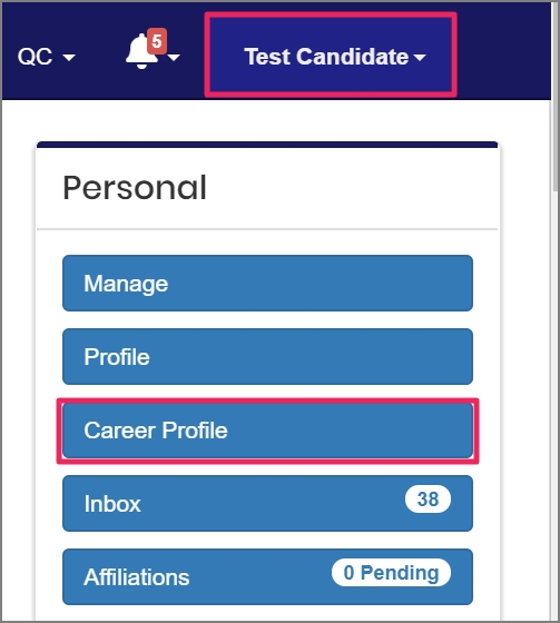 click your name/avatar and then click Career Profile