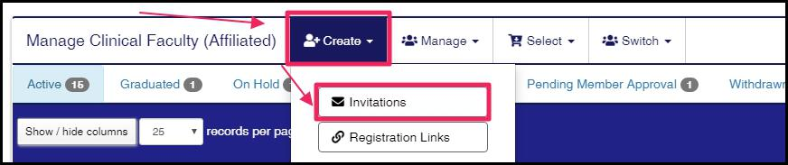 image user home screen highlighting Create button and Invitations button in drop-down menu