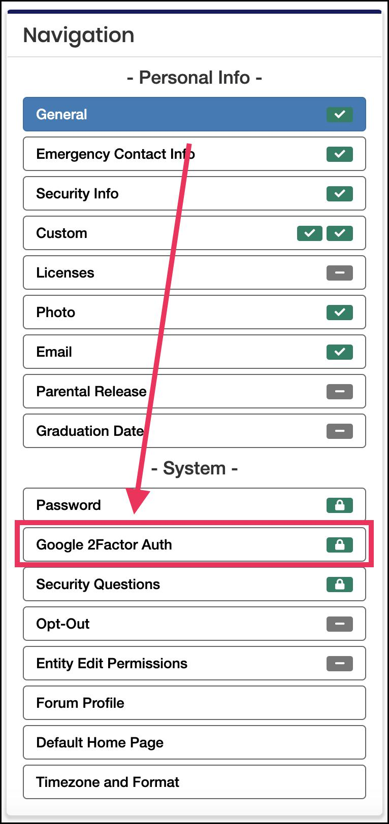 navigation panel pointing to Google 2Factor Auth button
