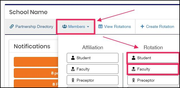image user nav-bar highlighting members button and pointing to member types Student and Faculty
