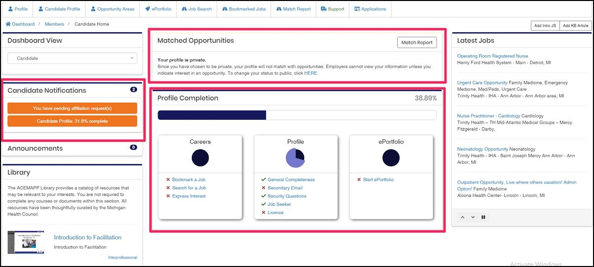 shows Candidate Dashboard showcasing key areas