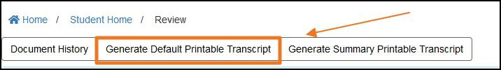 image transcript nav-bar highlighting Printable Transcript button