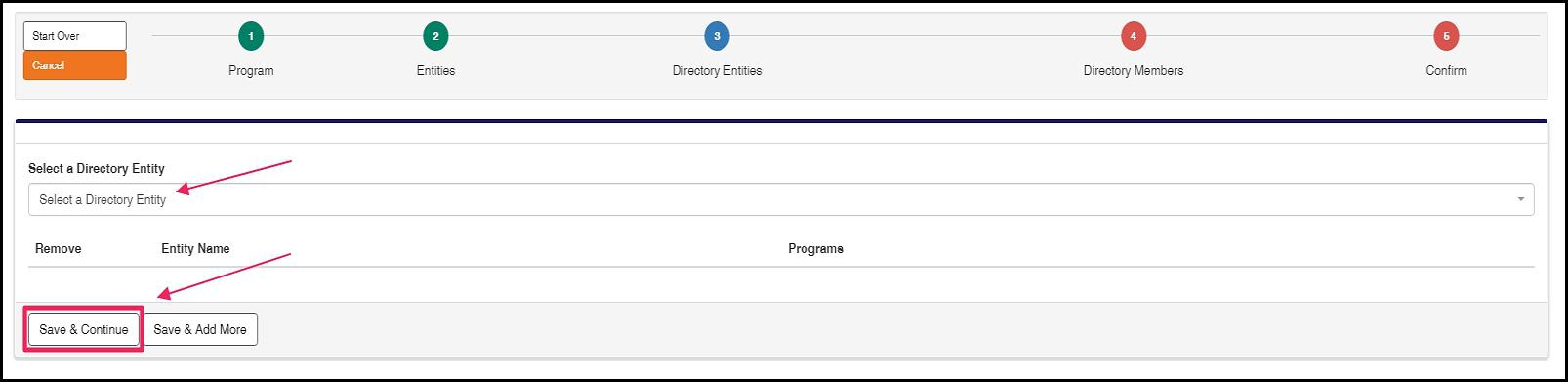"""Click in the Directory Entity box to select your site. Then select """"Save & Continue""""."""