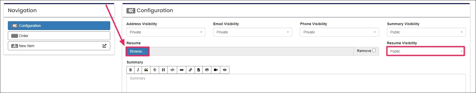 image with arrow pointing to the browse button and the resume drop-down menu