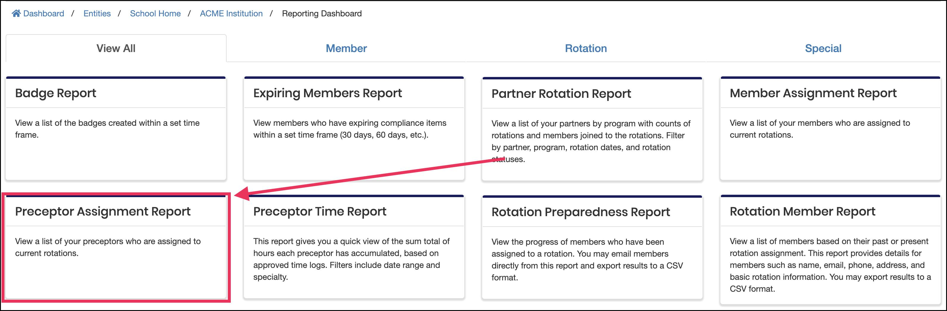 reporting dashboard page pointing to Preceptor Assignment Report tile