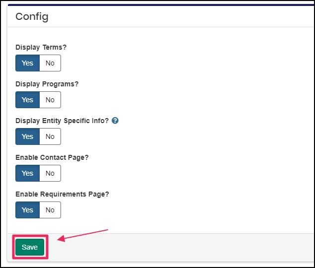 image showing fields to configure landing page