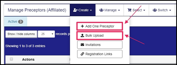 Image pointing to add one preceptor tab and bulk upload tab on affiliated students table