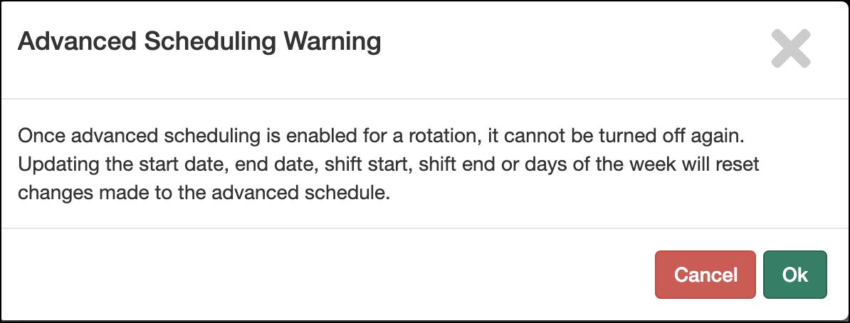 Edit Rotation screen highlighting Advanced Scheduling toggle