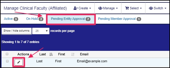 image shows pending affiliation requests and edit member