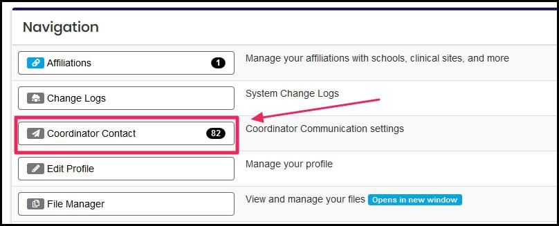 Select the Coordinator Contact tab in the Navigation table