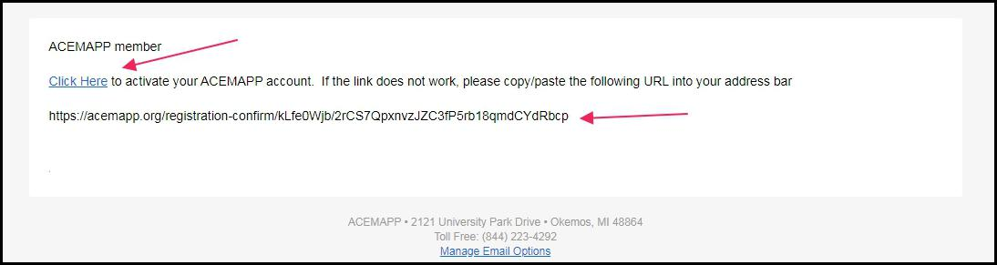 image example Confirmation email pointing to link to confirm activation.