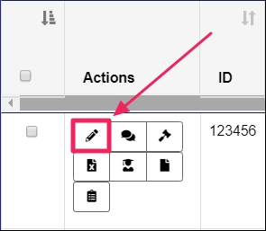 """Arrow pointing to a highlighted """"Edit"""" button in the """"Actions"""" column of the """"View Rotations"""" page."""