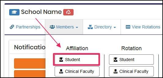 users dashboard highlighting Students under Affiliation column in the Members drop-down menu