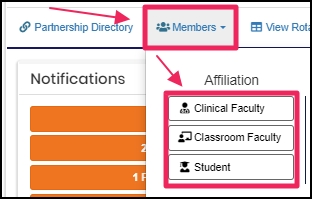 image nav-bar pointing to Members by Affiliation