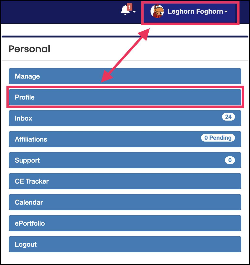 Image pointing to name in the top right-hand corner and the Profile tab under the Personal panel