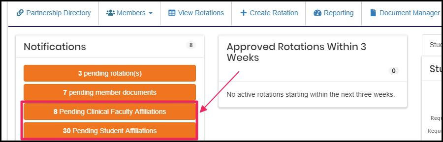 image Users home screen highlighting Pending Affiliation Approval button