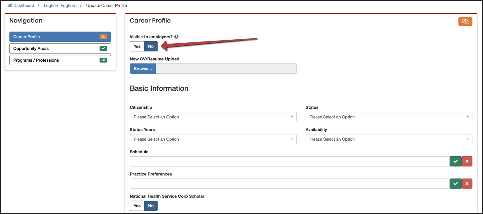 member career profile section