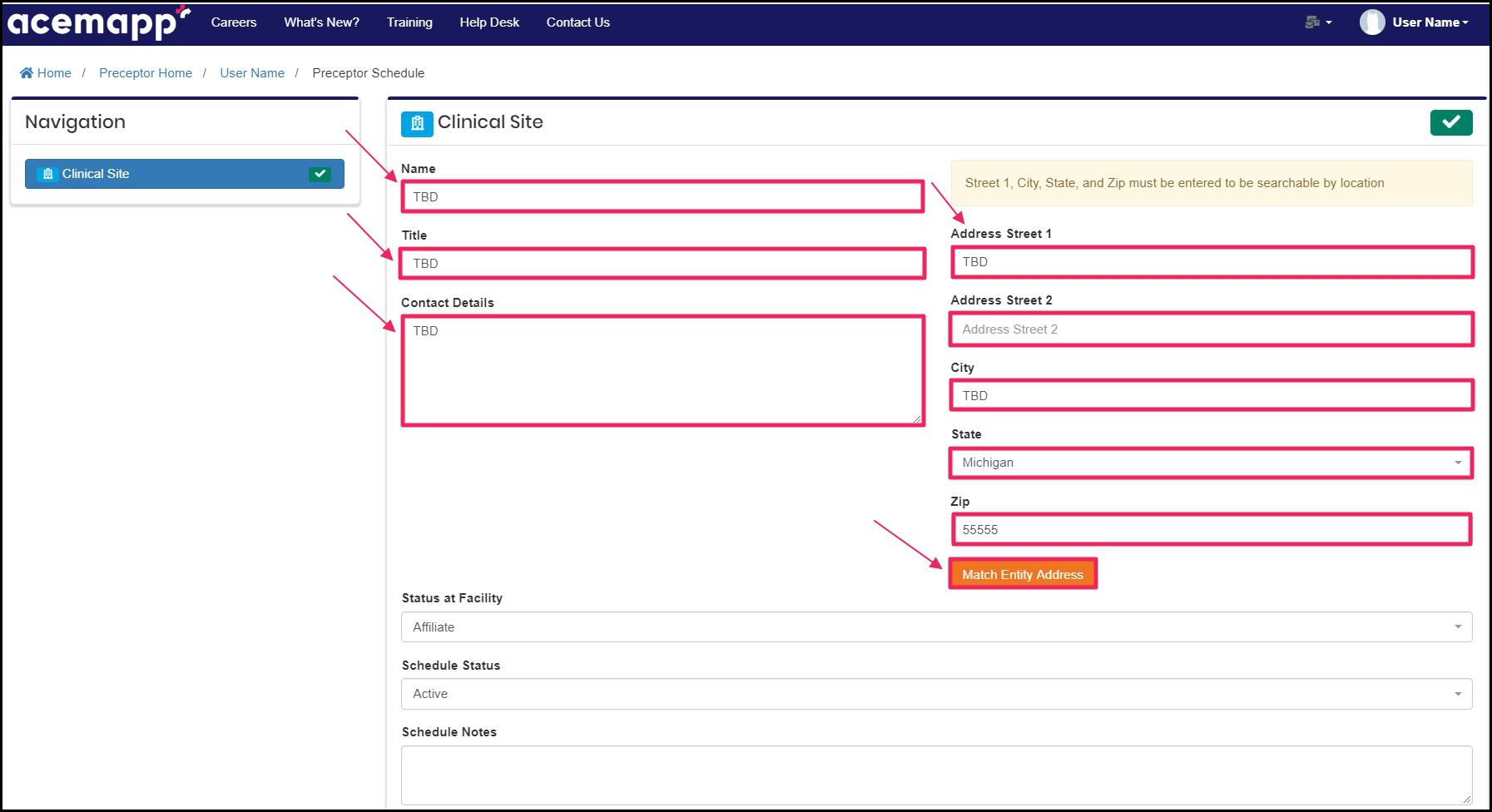 Image pointing to Name, Title, Contact Details, Address, and Match Entity Address fields on Preceptor Schedule page