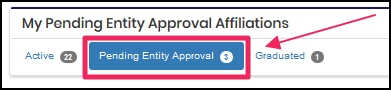 image shows pending entity approval tab