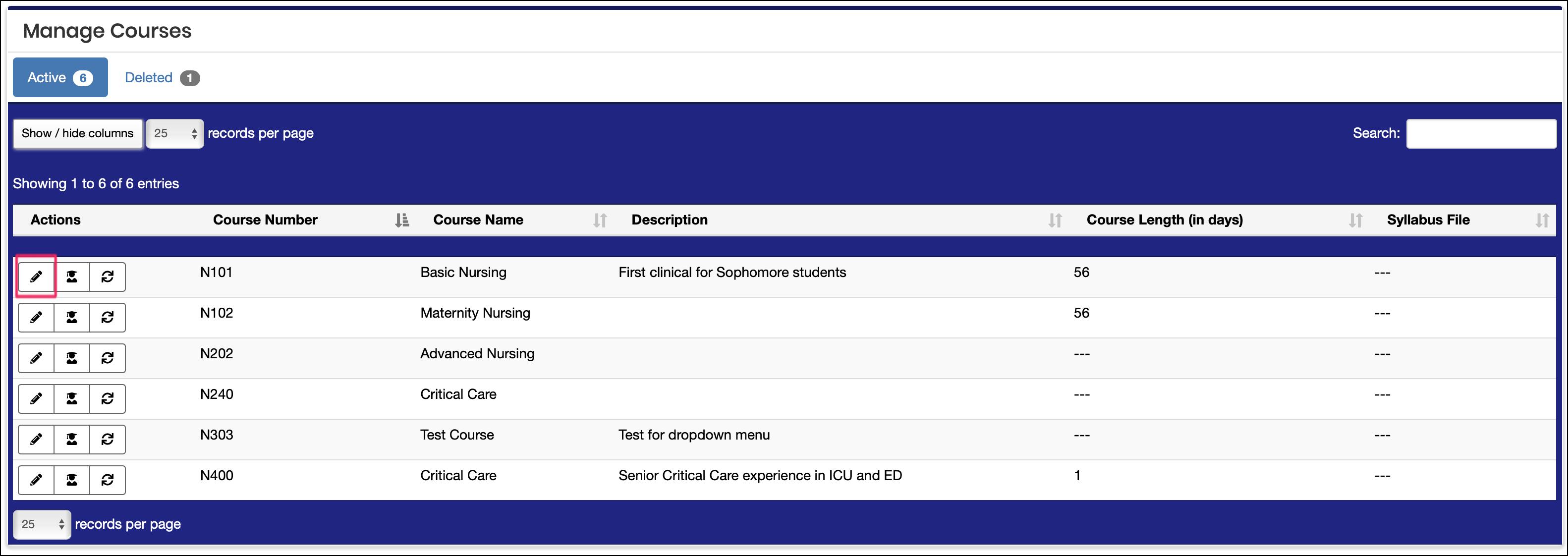 course screen