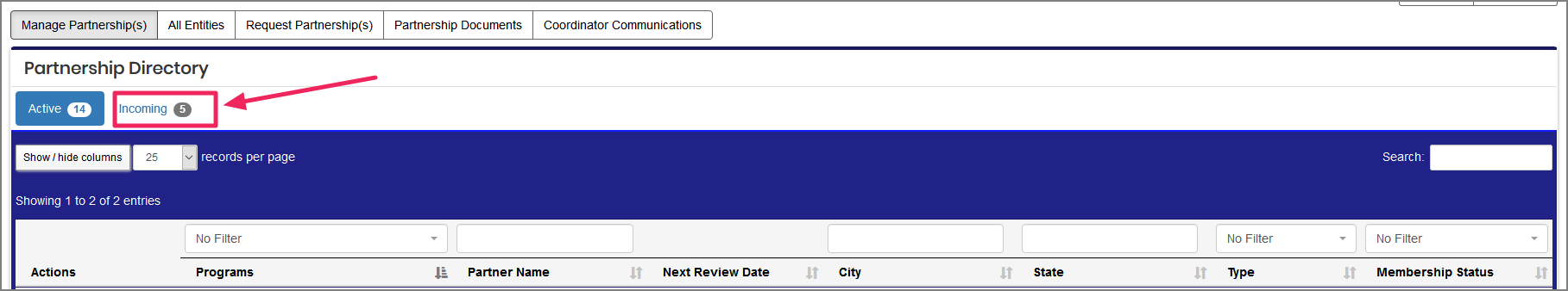 image Partnership Directory pointing to the incoming button