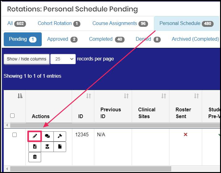 "Image shows an arrow pointing to the highlighted ""Edit"" button next to the personal schedule."