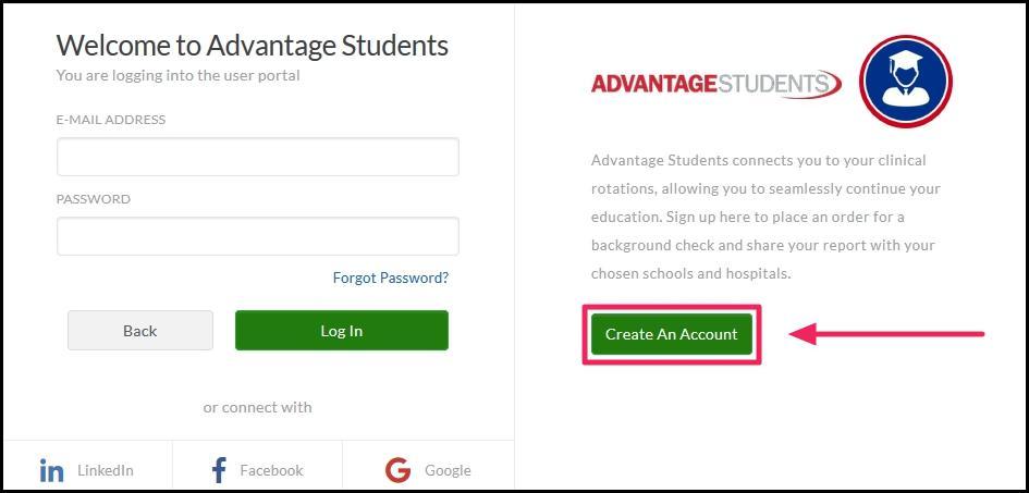 image screenshot Advantage student, create account button