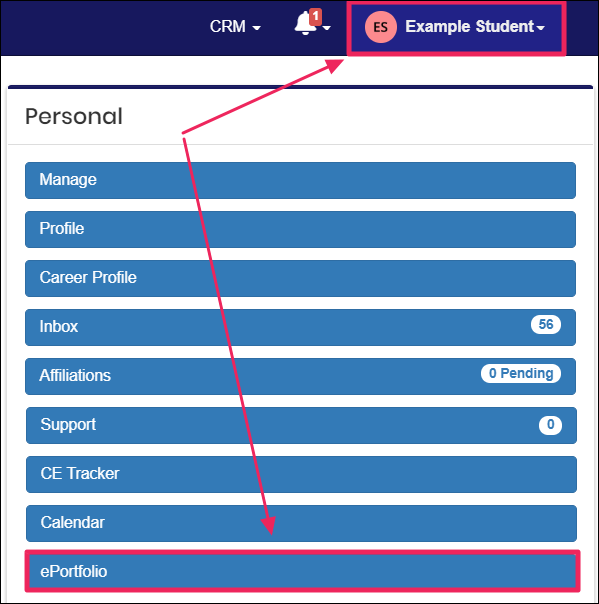 Image shows arrows pointing the the username drop-down in the upper-right corner and the highlighted ePortfolio button.