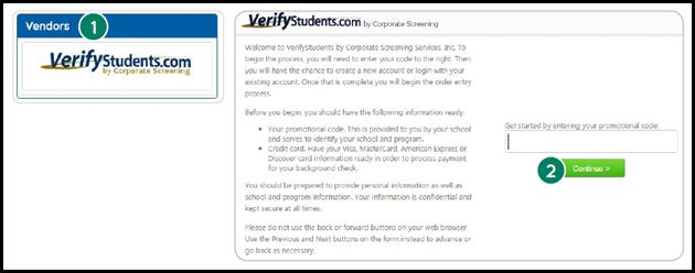 Screen shot of Verify Students logo to be clicked on, the second screenshot of Verify Students login page.