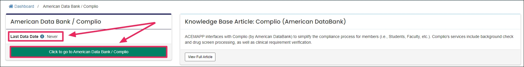 image screenshot of splash screen leave with arrows pointing to the last data date and click to go to Complio button