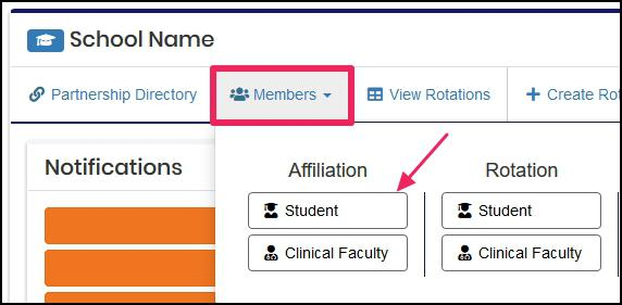 user nav-bar highlighting Members icon and pointing to member type Student in the drop-down menu