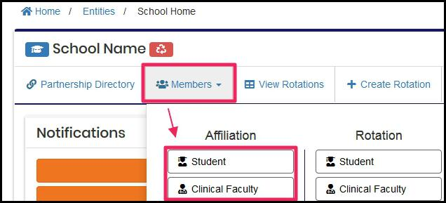 image Example User home screen highlighting Members button and drop-down menu