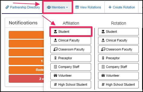 Image shows member tab and student under affiliation
