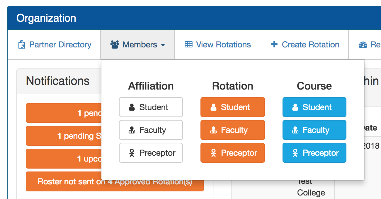 screen shot for Simplified Menu for Managing Members