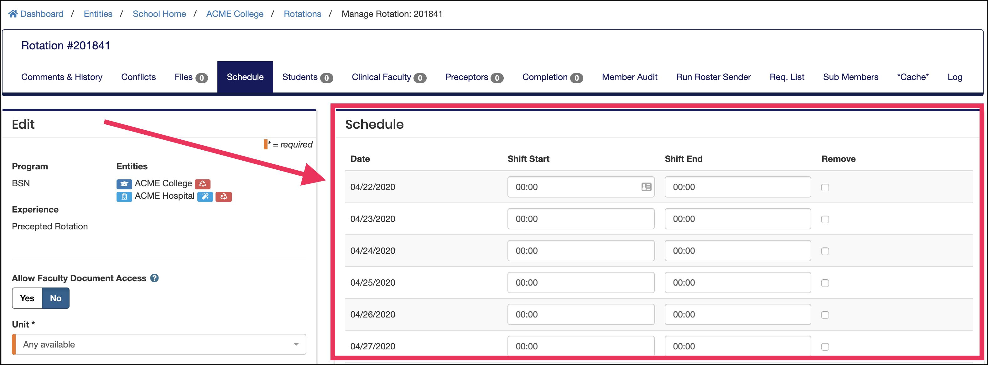 Edit Rotation screen highlighting Advanced Schedule section