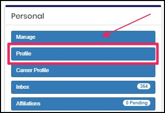 image shows the profile tab in personal panel